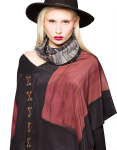 Leather-Laced Silk Ponchos