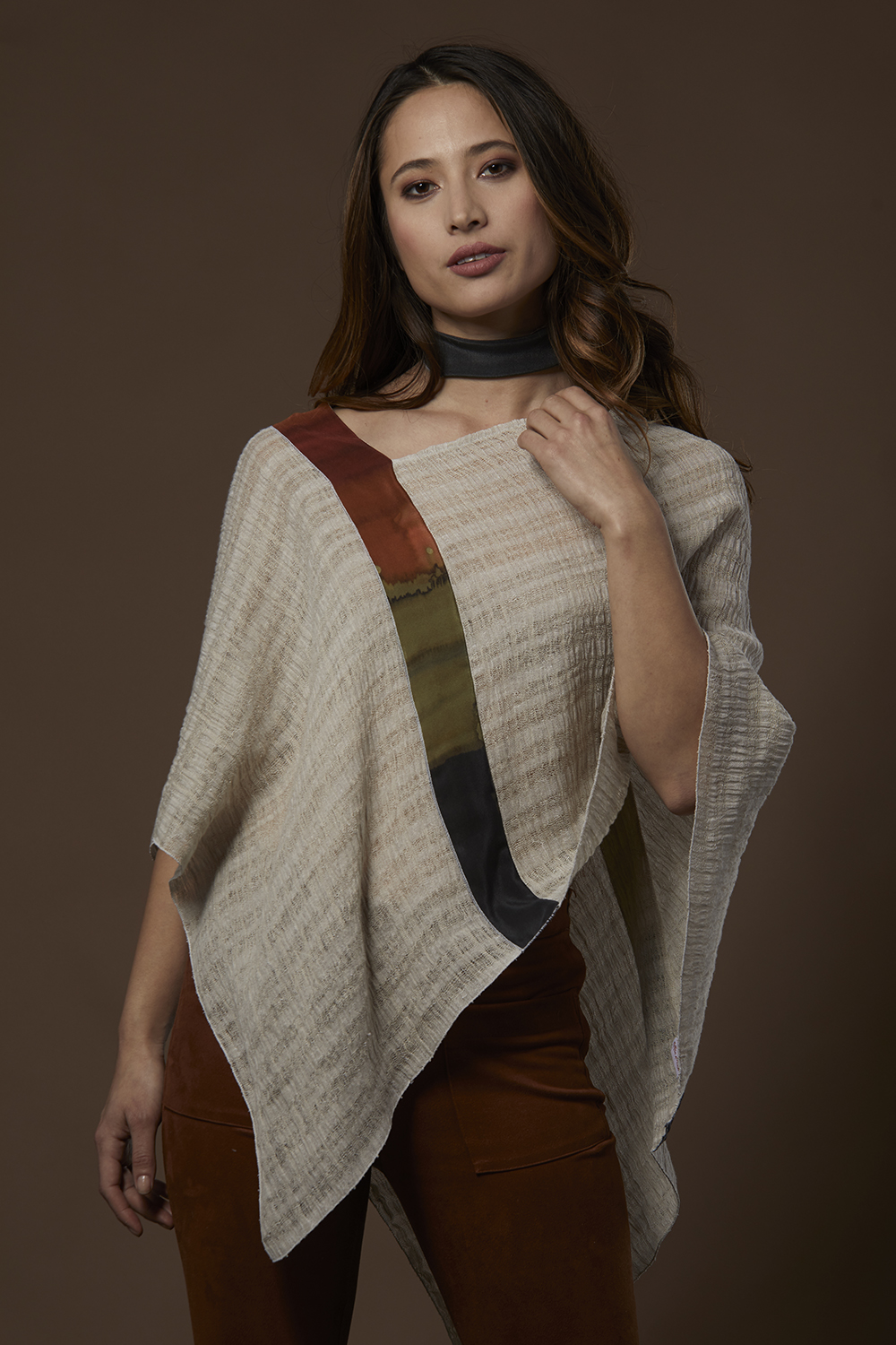 Ivory Poncho with Infusion Stripe